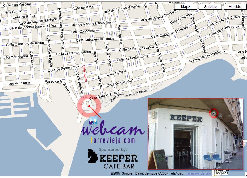 Torrevieja webcam location - keeper bar - Juan Aparicio promenade